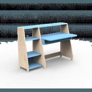 Petit Bureau Évolutif une Colonne Étagères Bois Montessori Finition:L.BU AZ