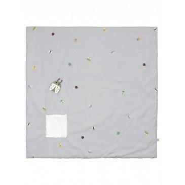 Tapis de jeu insectes gris en Coton Biologique | www.marelleetcaramel.com