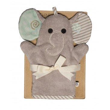 Gant de toilette marionnette Ellie l'éléphant | www.marelleetcaramel.com