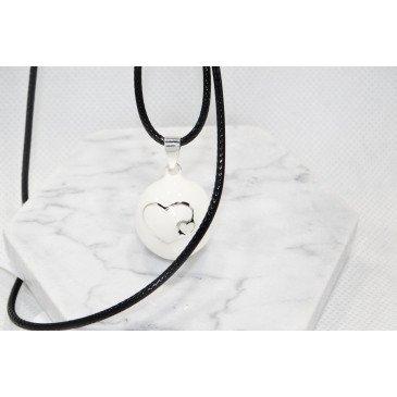 Bola de grossesse blanc lisse/motif argent - VICTORIA