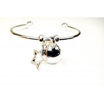Bracelet Bola de grossesse argent lisse - LISA