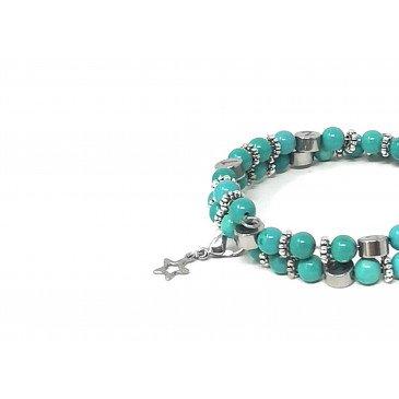 Bracelet d'allaitement pierre naturelle- Howlite B.Turquoise