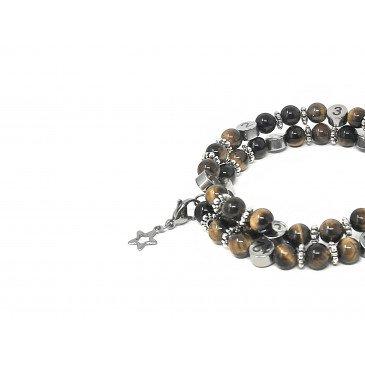 Bracelet d'allaitement pierre naturelle-Oeil du tigre Marron