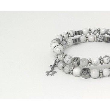 Bracelet d'allaitement pierre naturelle - Howlite