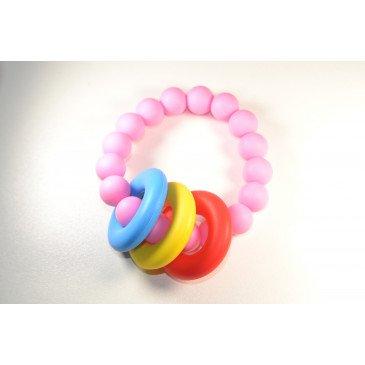 Bracelet bijou de dentition et de portage - Rose et anneaux