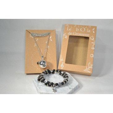 Box Bola et bracelet d'allaitement - Obsidienne