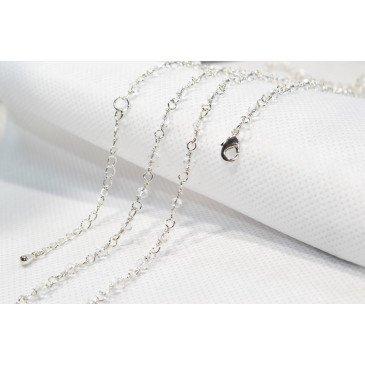 Chaine bola plaqué 114 cm - Perlée Argent