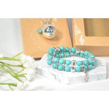 Box Bola et bracelet d'allaitement - Howlite B.Turquoise