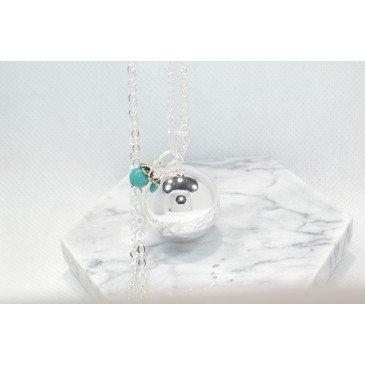Bola argent lisse pierre naturelle - Howlite Bl.Turquoise