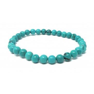 Bracelet Ad. Ambre et pierre - Howlite teintée Bl. Turquoise