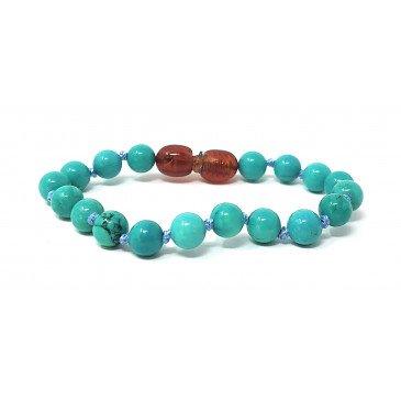 Bracelet Bébé Pierre naturelle - Howlite teintée B.Turquoise