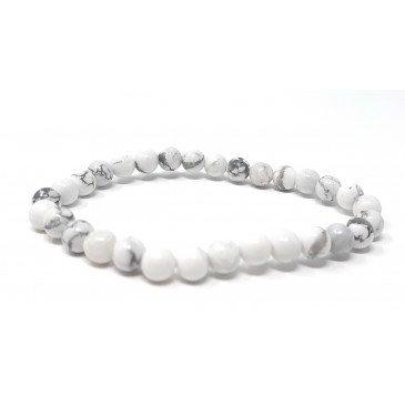 Bracelet Ad. Ambre et pierre - Howlite