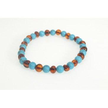 Bracelet Ad. Ambre et pierre - Cognac/Turquoise Bleu