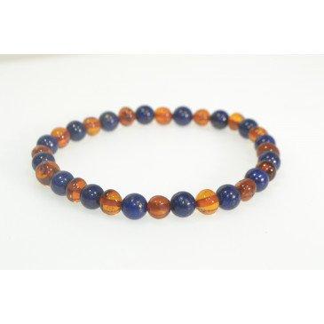 Bracelet Ad. Ambre et pierre - Cognac/Lapis Lazuli