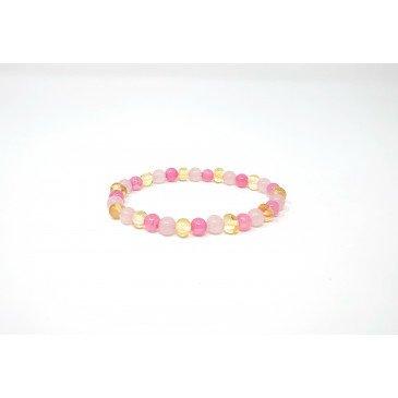 Bracelet Ad. Ambre et pierre - Lemon/Quartz Rose/Calcédoine