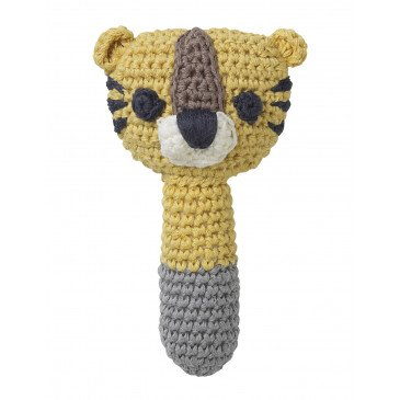 Hochet Sarah tigre jaune en Coton Biologique | www.marelleetcaramel.com