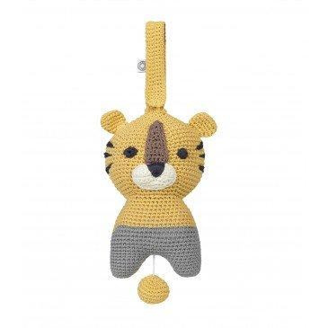 Peluche musicale Hella tigre jaune en Coton Biologique | www.marelleetcaramel.com