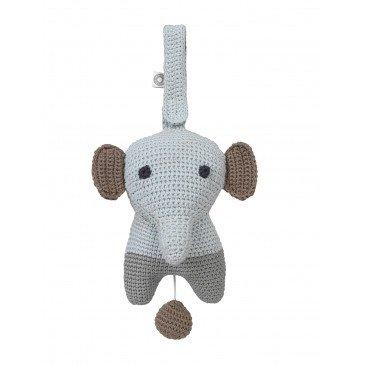 Peluche musicale Hella éléphant gris en Coton Biologique | www.marelleetcaramel.com
