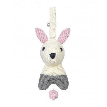 Peluche musicale Hella lapin blanc en Coton Biologique | www.marelleetcaramel.com