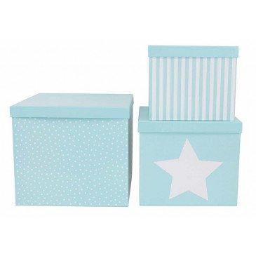 Set 3 boîtes cubes bleues | www.marelleetcaramel.com