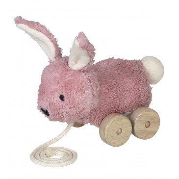 Jouet à tirer Mingus lapin rose en Coton Biologique | www.marelleetcaramel.com