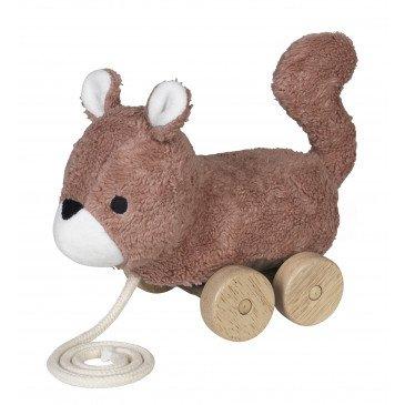 Jouet à tirer Mingus écureuil marron en Coton Biologique | www.marelleetcaramel.com