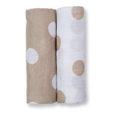 Lange Mousseline pack de 2 - pois taupe | www.marelleetcaramel.com